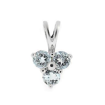 9ct oro blanco 0,39 ct topacio azul y diamantes clásico racimo colgante