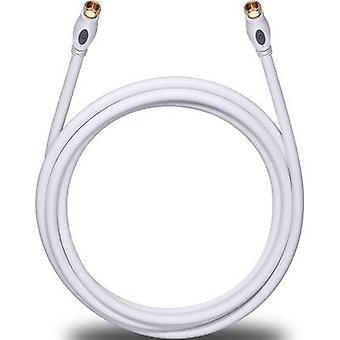 Anteny, kabel SAT [1 x wtyk F - 1 x wtyk F] 7.50 m 120 dB pozłacane złącza biały Oehlbach transmisji Plus S