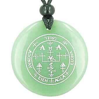 大天使ウリエルの魔法のお守り緑のキラキラ輝く魔法の精神的なペンダント ネックレスの印章
