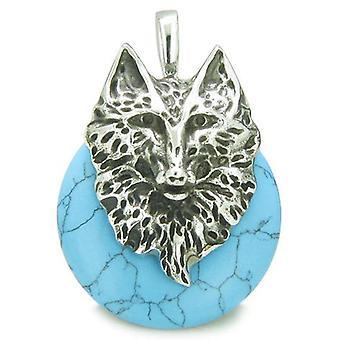 Amulet ulven hodet mot og beskyttelse krefter heldig Donut turkis rustfritt stål anheng