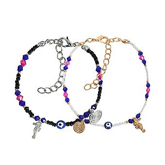 Evil Eye Protection Love Couples Amulets Set Royal Blue White Pink Black Sea Horse Power Bracelets