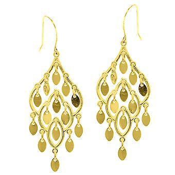 10 k Gelb Gold Fancy Tropfen Ohrringe mit französischen Draht Verschluss
