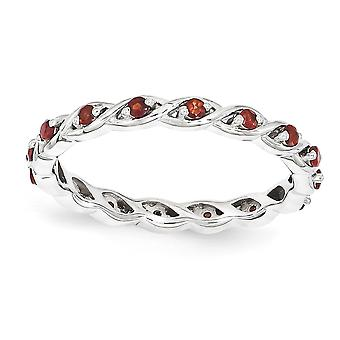 2.5mm 925 Sterling Silver Polished Prong set Rhodium plated Stackable Expressions Garnet Ring Jewelry Gifts for Women -