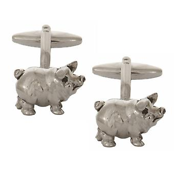Zennor свинья родием пластины запонки - серебро