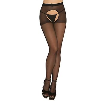 Elegant Moments Women's Classic Tights in Sheer Black Cutout Crotch