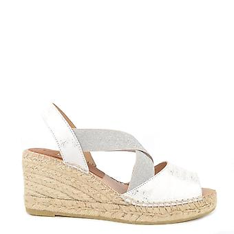 Kanna Ania White And Silver Wedge Espadrille