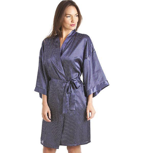 Camille Luxury Kimono Style Blue Polka Dot Print Chemise And Wrap Set