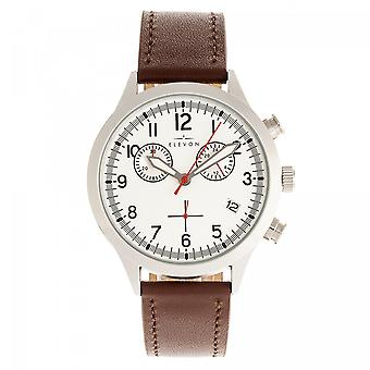 Elevon Antoine Chronograph Leather-Band Watch w/Date - Brown/Silver