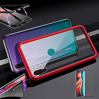 Für Huawei P30 Magnet / Metall / Glas Tasche Case Rot / Transparent + 0,3 mm H9 4D Full Curved Tempered Hart Glas