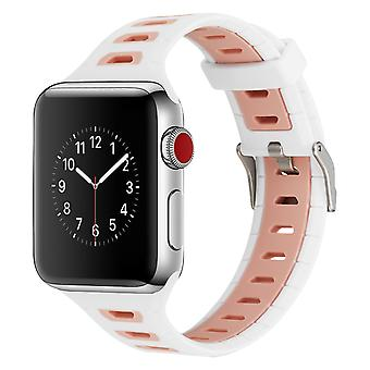 Apple Watch Series 42/44mm breathable silicone replacement bracelet– White/ Pink