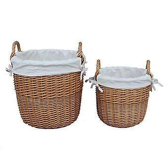 Set of 2 Light Steamed Lined Wicker White Cotton Lined Bins