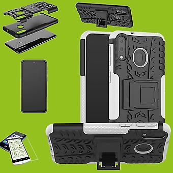 Für Huawei P30 Lite Hybrid Case 2teilig Weiß + Hartglas Tasche Hülle Cover Etuis