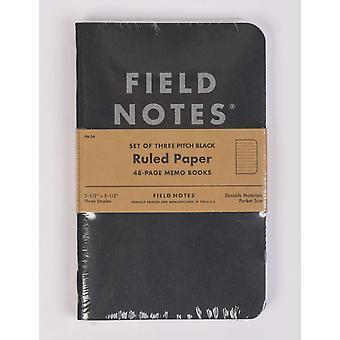 Field Notes Pitch Black Notebook (3 Pack) - Ruled