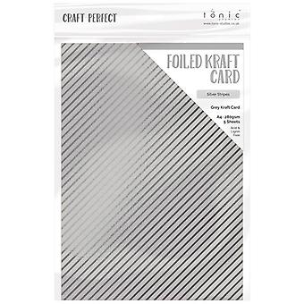 Craft Perfect by Tonic Studios A4 Foiled Craft Card Silver Stripes