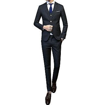 Allthemen mężczyźni 3szt Silm Fit Plaid 3 kawałki garnitur (Blazer & Vest & Pants)