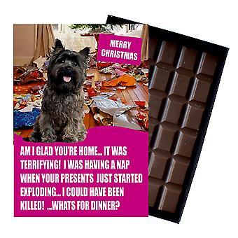 Cairn Terrier śmieszne Boże Narodzenie prezent dla psa kochanka Pudełkowane czekolada powitanie karta Xmas Present