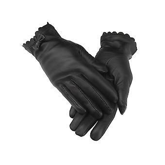 Ladies Black Bow Tie Leather Gloves