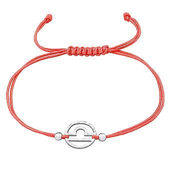 Libra Zodiac Sign - 925 Sterling Silver + Nylon Cord Corded Bracelets - W39000X