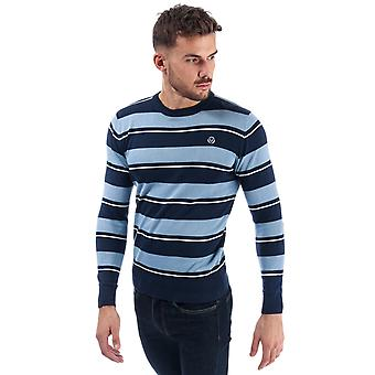 Mens Duck And Cover Linton Stripe Crew Knit In Navy- Ribbed Cuffs, Hem And
