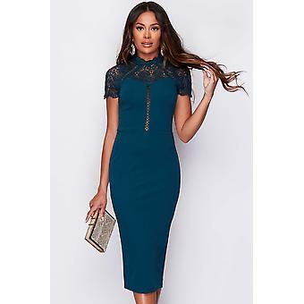 Teal Short Sleeved Lace Detail Dress