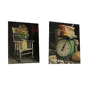 Wood Pallet Look Farmhouse Scale and Rocking Chair Bouquet Wall Hanging Set