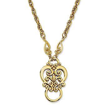 Gold-Ton Fancy Hummer Verschluss Fancy Scroll Eyeglass Halter 28 Zoll Halskette Schmuck Geschenke für Frauen