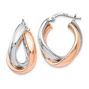 925 Sterling Silver Twisted Polished Hinged hoop Rose 14k Gold Plated Double Hoop Boucles d'oreilles Bijoux Bijoux pour les femmes