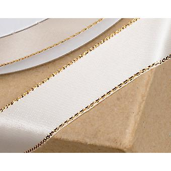 25m Ivory 15mm Wide Satin Ribbon with Gold Sparkle Edge for Crafts