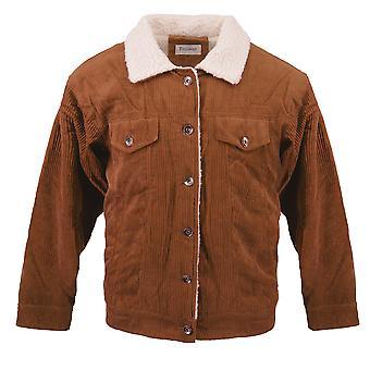 Women's Corduroy Jacket Sherpa Jeans Blouson Velour Lining Teddy Fleece Fur Vest