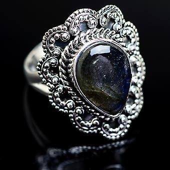 Labradorite ring størrelse 9 (925 sterling sølv)-håndlavede Boho vintage smykker RING980755