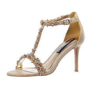 Onlineshoe Diamante And Flower Strappy Heeled Sandal