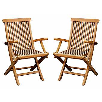 Charles Bentley par de macizos de madera maciza de teca Jardín al aire libre sillas de brazo plegables