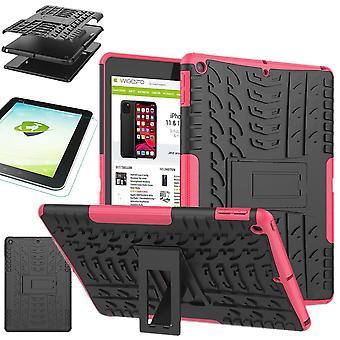 For Apple iPad 10,2 tommer 2019 syvende generasjon hybrid utendørs beskyttende etui rosa veske + 0,3 H9 beskyttende glass