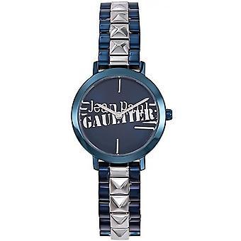 Jean Paul Gaultier horloge 8506202-blauw staal en zilveren armband effecten reliëfs vrouwen