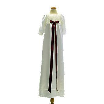 Dopklänning I Off White Med Lång ärm, Vinröd Doprosett