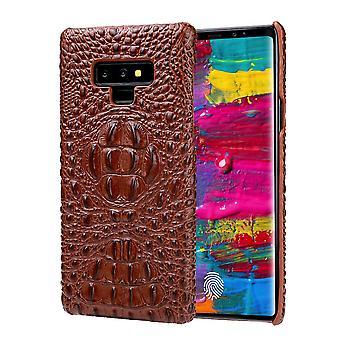 Til Samsung Galaxy Note 9 sag Crocodile 3D ægte læder telefon cover brown