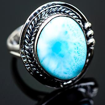 Larimar Ring Size 9 (925 Sterling Silver)  - Handmade Boho Vintage Jewelry RING990327