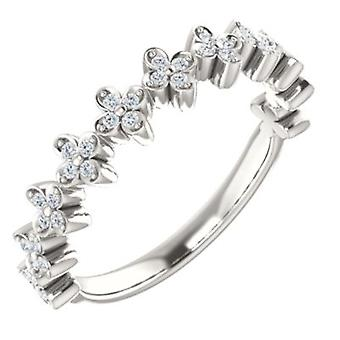 925 Sterling Silver Round 1mm Polished 0.2 Dwt Diamond Stackable Clover Ring Size 6.5 Jewelry Gifts for Women