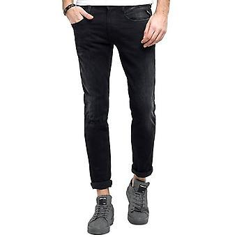 Replay Anbass Hyperflex Broken & Repair Stretch Black Jeans M914 661 16B 098