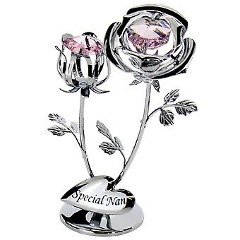 Crystocraft Chrome Plated Rose & Rose Bud Ornament (Special Nan) made with Swarovski crystals