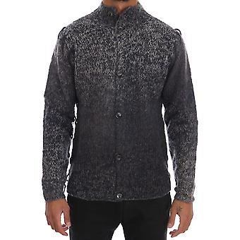 Galliano Gray Knitted Wool Button Cardigan Sweater