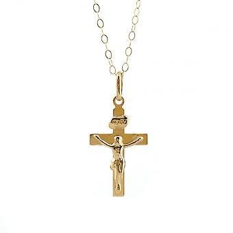 Ewigkeit 9ct Gold flache Kruzifix Anhänger und 16'' Spurkette