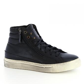 Zapatos Leonardo Hombres's hecho a mano zapatillas de alta parte piel de becerro con cremallera lateral