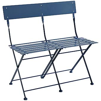 Charles Bentley 2 Seater Folding Metal Bistro Bench Garden Seat Chair - Navy