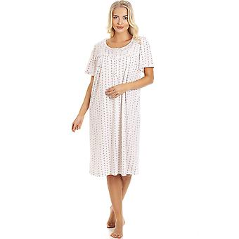 Camille Pink & Grey Floral Pinstriped Short Sleeve Nightdress