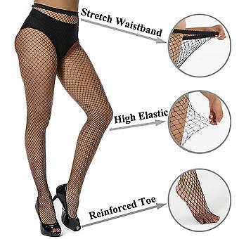 akiido High Waist Tights Fishnet Stockings Thigh High, Black, Size One Size