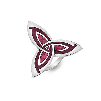 Celtic Trinity Knot Enamel Scarf Ring  - Red - Gift Boxed