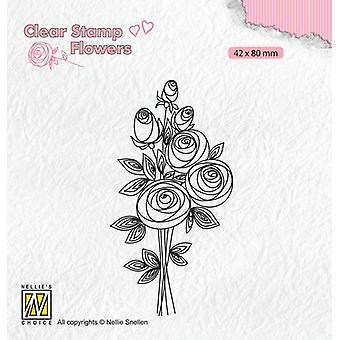 Nellie-apos;s Choice Clear timbres Fleurs Bouquet roses-2 FLO021 42x80mm (11-19)