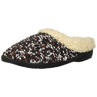 Dearfoams DF Women's Boucle Clog Slipper, Black M Medium US