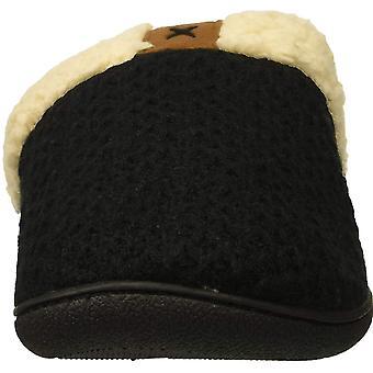 Dearfoams Women's Wide Width Textured Knit Closed Toe Scuff Slipper